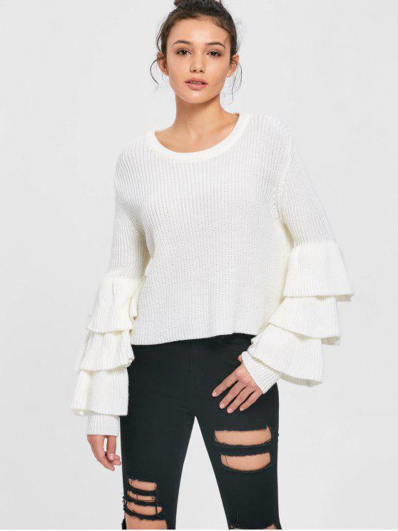 b24ffd78ac 27% OFF  2019 Layered Flare Sleeve Sweater In WHITE