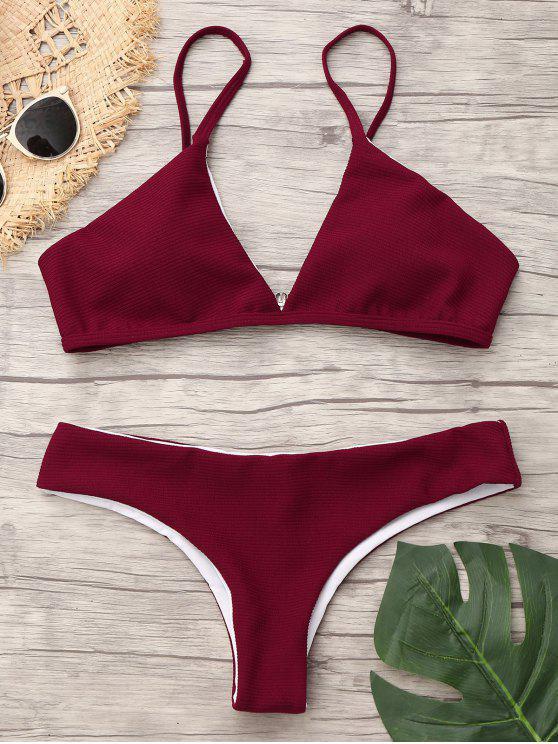 94a959f36d52e 21% OFF] 2019 Spaghetti Strap Low Waist Bikini In WINE RED   ZAFUL