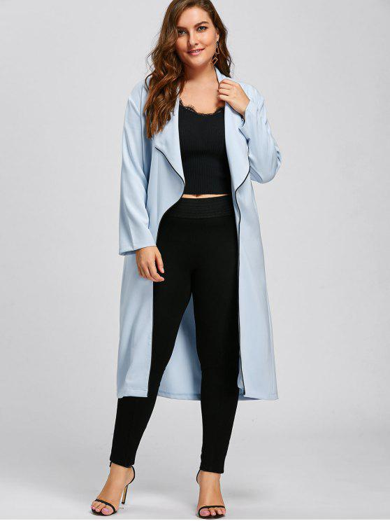 fashion Plus Size Longline Waterfall Trench Coat - LIGHT BLUE 4XL