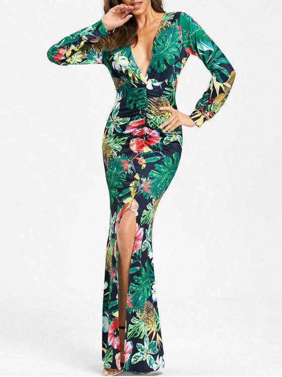 a5264478e6182 24% OFF] 2019 Hawaiian Print Long Sleeve Prom Dress In GREEN | ZAFUL
