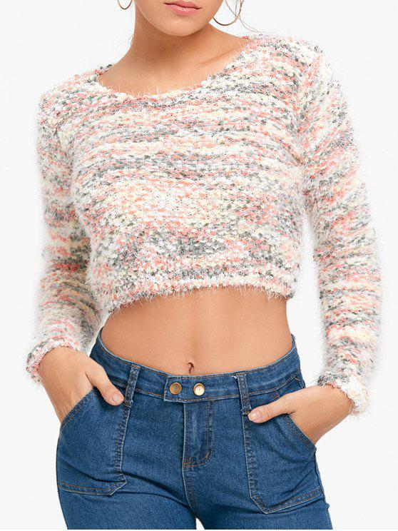 sale Fluffy Cropped Motley Sweater - PINK ONE SIZE