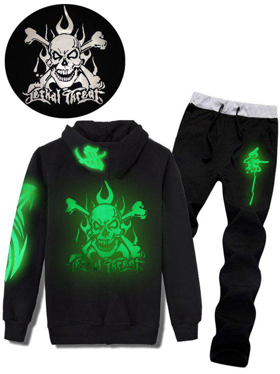 Skull Graphic Print Luminous Hoodie and Pants Twinset - Preto L