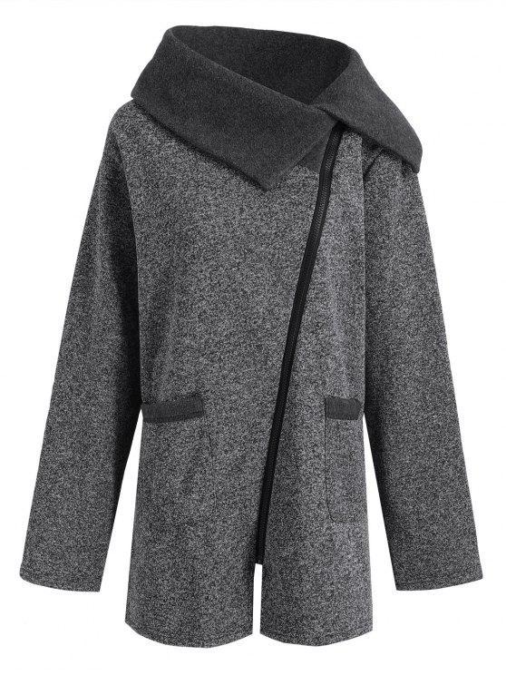 womens Plus Size Fleece Oblique Zipper Turn Down Hoodie - GREY AND DARK GREY 2XL