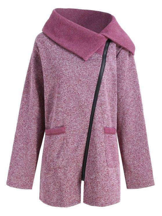 Plus Size Fleece Oblique Zipper Turn Down Hoodie - Vermelho Púrpura 3XL