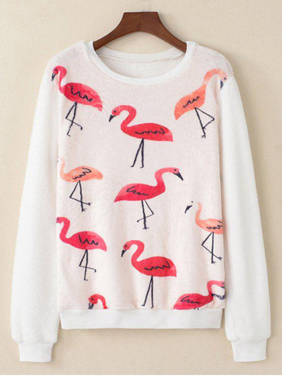 fashion Flamingo Printed Fluffy Sweatshirt - WHITE M