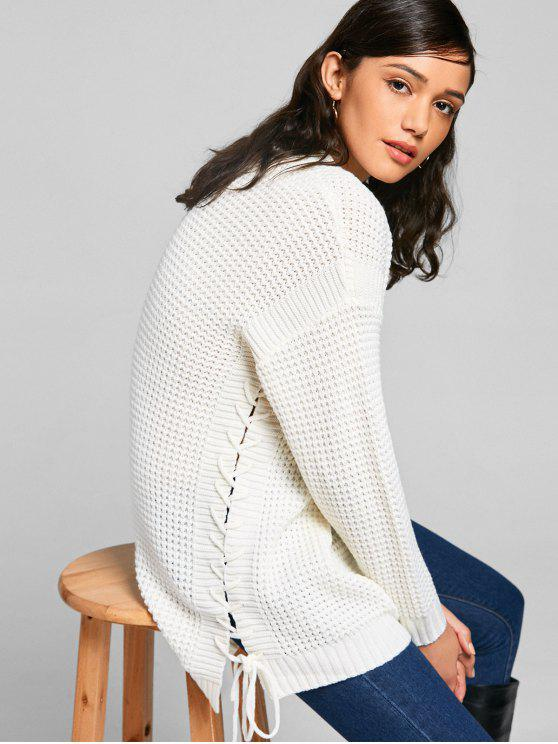 new Lace-up Chunky Tunic Sweater - OFF-WHITE ONE SIZE