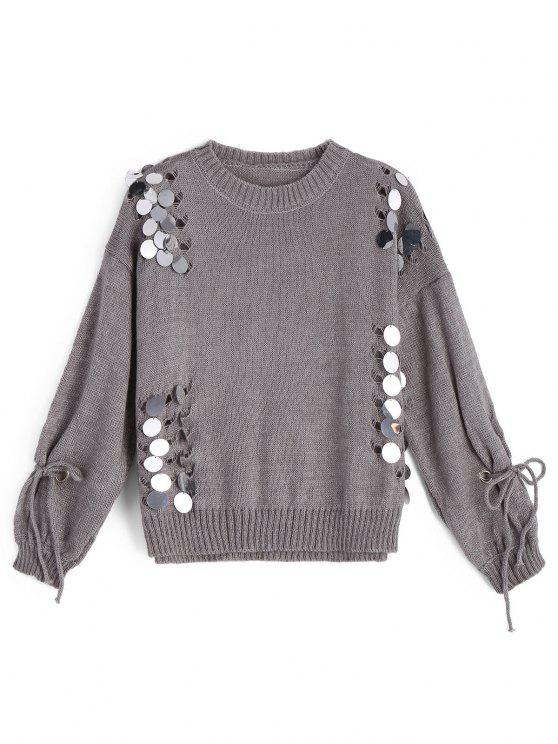 affordable Ripped Sequined Pullover Sweater - GRAY ONE SIZE