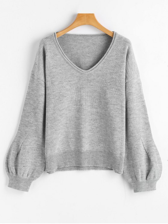 women's Lantern Sleeve Oversized V Neck Sweater - GRAY ONE SIZE