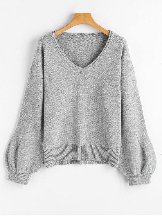 women's Lantern Sleeve Oversized V Neck Sweater - GRAY ONE SIZE
