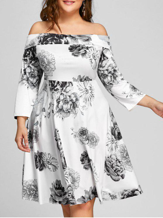 shop Plus Size Off The Shoulder Floral Print Dress - WHITE 5XL