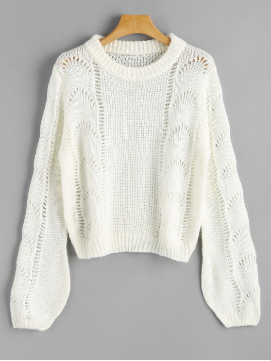womens Lantern Sleeve Cut Out Pullover Sweater - WHITE ONE SIZE