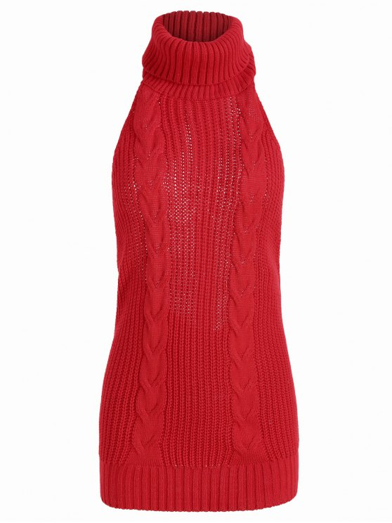Open Back Cable Knit Turtleneck Sleeveless Sweater Red Sweaters One