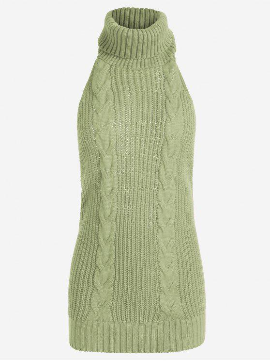 outfits Open Back Cable Knit Turtleneck Sleeveless Sweater - PEA GREEN ONE SIZE