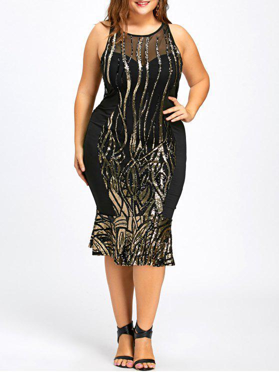 فستان الحجم الكبير ميرميد ميدي - أسود 5XL