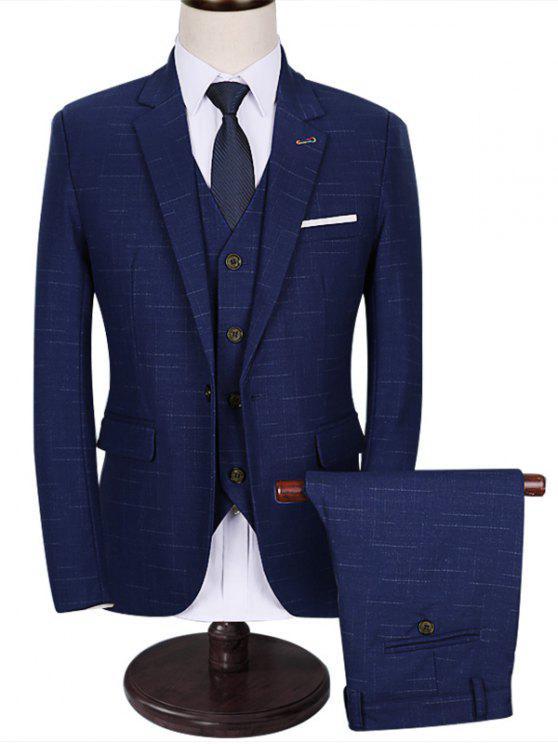 جيب وظيفي واحد 3 قطعة بدلة الأعمال - أزرق 5XL