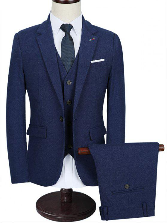 1dbca5829cf 35% OFF  2019 Functional Pocket Lapel 3 Piece Business Suit In BLUE ...