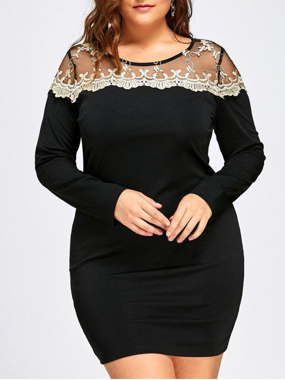 فستان بقصة ضيقة ذو مقاس كبير - أسود 5XL