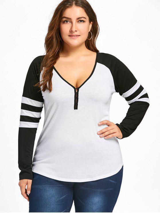 T-shirt Rayé à Deux Tons à Manches Raglan Grande Taille - Blanc et Noir 3XL