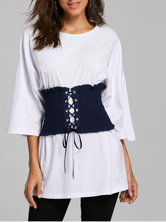 Corset Belt Drop Shoulder Tunic T-shirt - Branco L