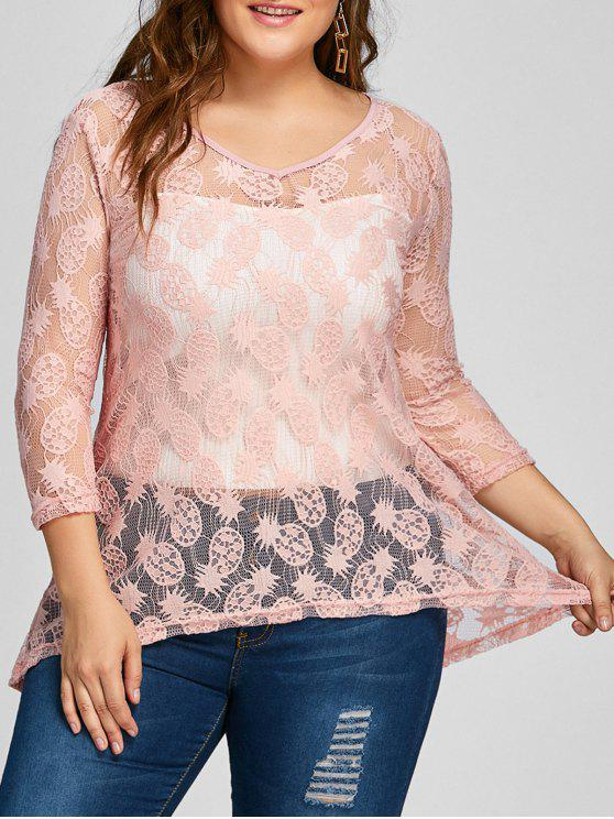 women Pineapple Lace High Low Sheer Plus Size Blouse - PINK 3XL