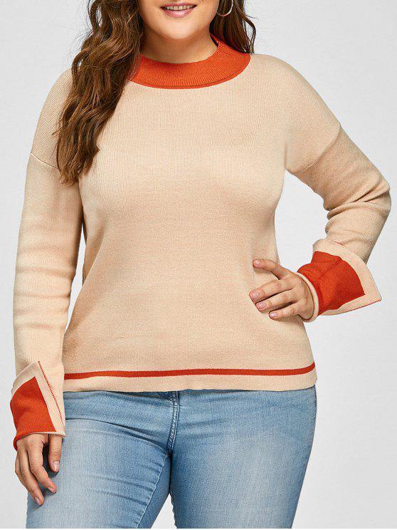 Plus Size Drop Schulter Striped Pullover - Helle Kamelfarben 4XL