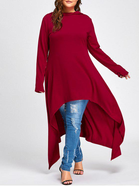 women Plus Size Maxi High Low Hooded Top - RED 3XL