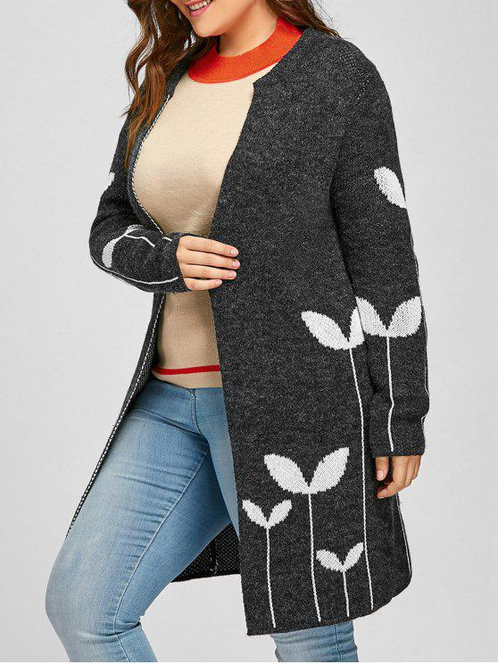 Sprout Jacquard Drop Shoulder Plus Size Cardigan - Cinza Escuro 2XL