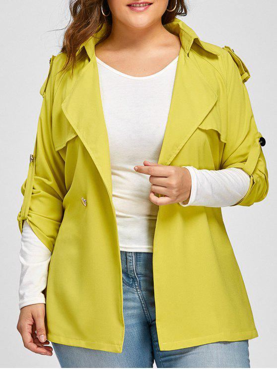 hot Plus Size Raglan Sleeve Lapel Belted Jacket - FLUORESCENT YELLOW 2XL