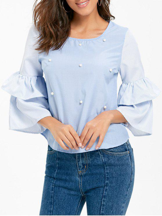 fancy Beaded Bell Sleeve Striped Blouse - CLOUDY S