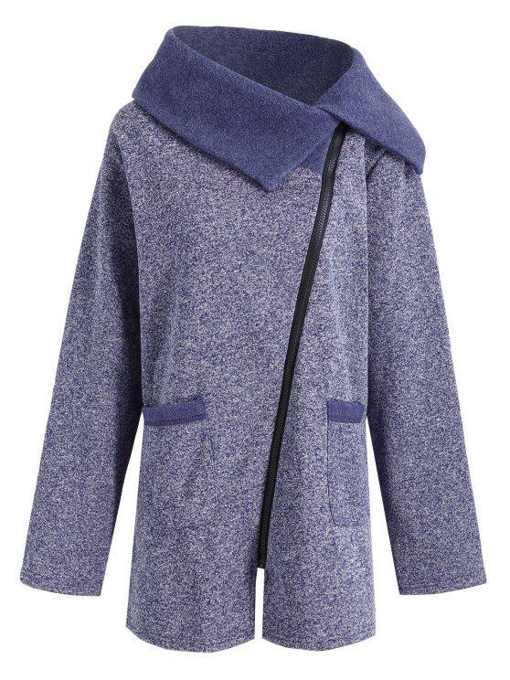 Plus Size Fleece Oblique Zipper Turn Down Hoodie - Cadetblue 3XL