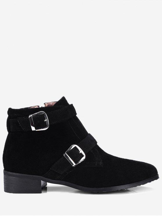 Stitching Buckle Strap Ankle Boots - Preto 40