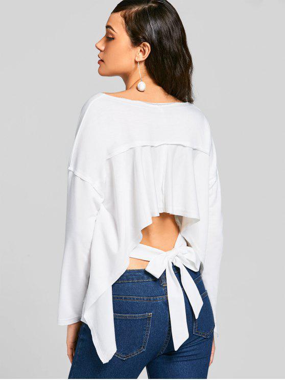 women's Bow Tied Asymmetrical Cut Out Sweatshirt - WHITE M
