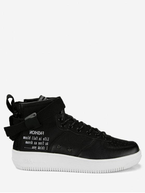 fashion Buckle Strap Letter High Top Sneakers - BLACK 42