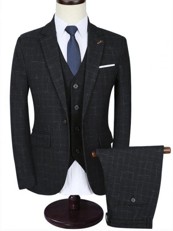 سليم التباين جيب ثلاثة قطعة بدلة الأعمال - رمادي 3XL