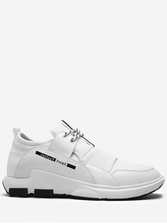Contrassegno colore Splicing Lettera Sneakers - Bianca 44