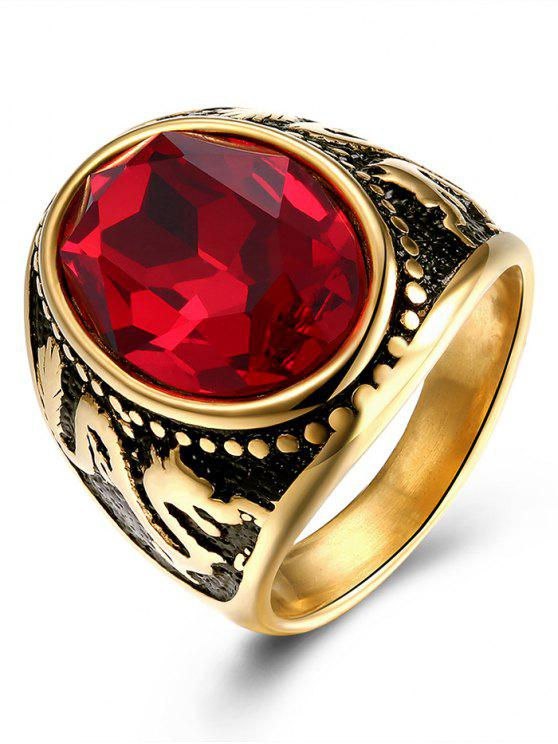 women's Vintage Engraved Dragon Faux Ruby Oval Ring - GOLDEN 7