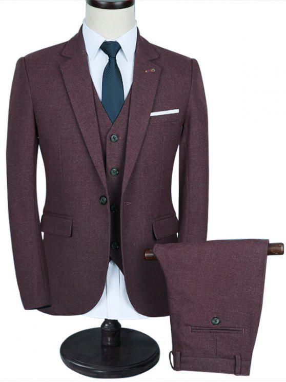 التباين الصدر جيب الزفاف 3 قطعة البدلة - نبيذ أحمر 2XL