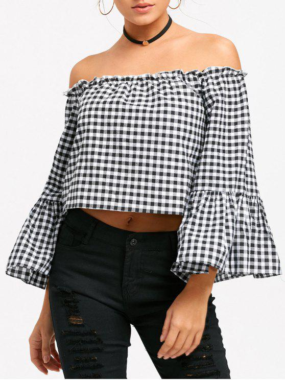 fashion Off The Shoulder Bell Sleeve Plaid Cropped Blouse - CHECKED M