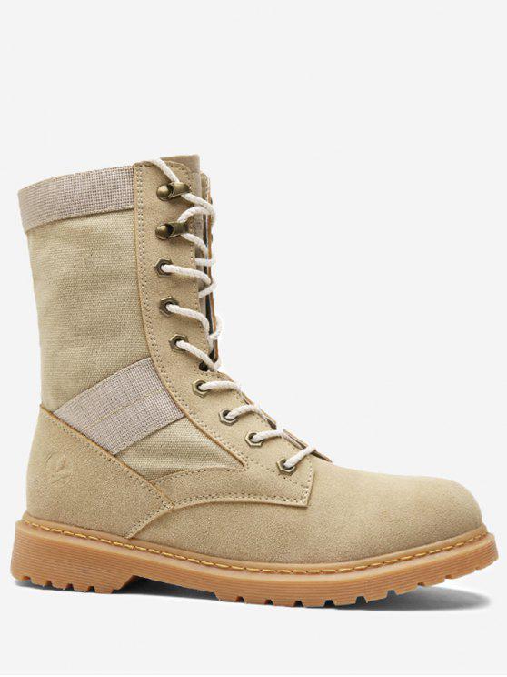 Lace Up Doblar sobre las botas de tobillo - Albaricoque 40
