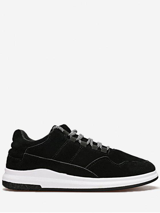 fancy Lace Up Stitching Sneakers - BLACK 42