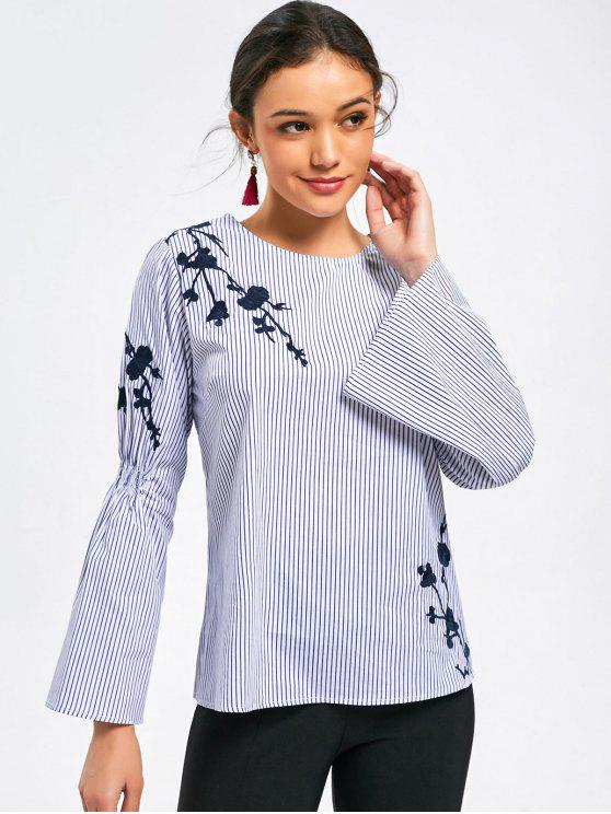 fashion Flare Sleeve Stripes Floral Embroidered Blouse - STRIPE M