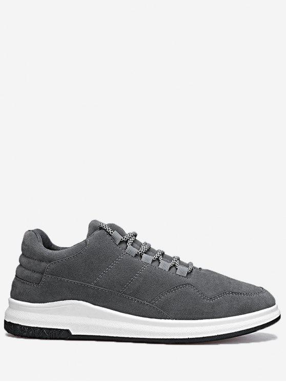new Lace Up Stitching Sneakers - GRAY 44