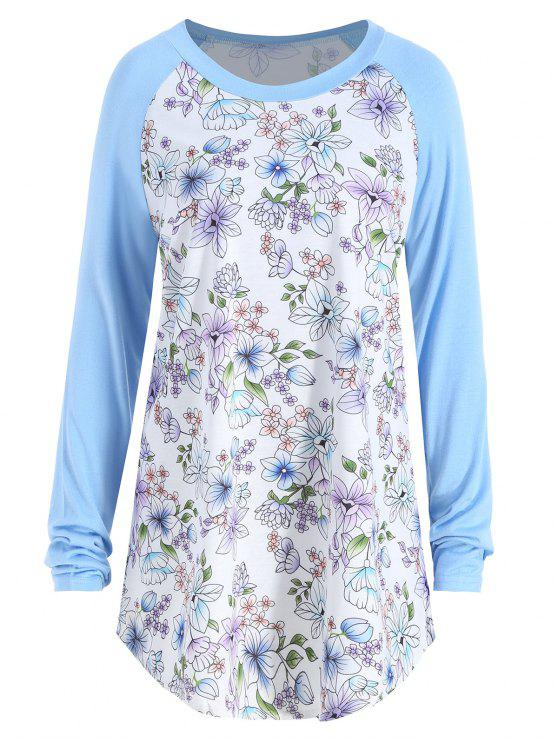 women's Floral Print Raglan Sleeve Plus Size Tee - LIGHT BLUE 2XL