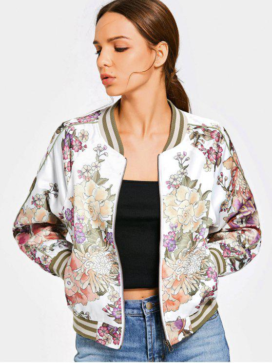 44a9f9ec6700 22% OFF  2019 Floral Print Zip Up Bomber Jacket In FLORAL