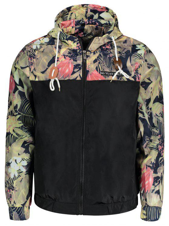 women Plant Print Hooded Windbreaker Jacket Men Clothes - BLACK 2XL
