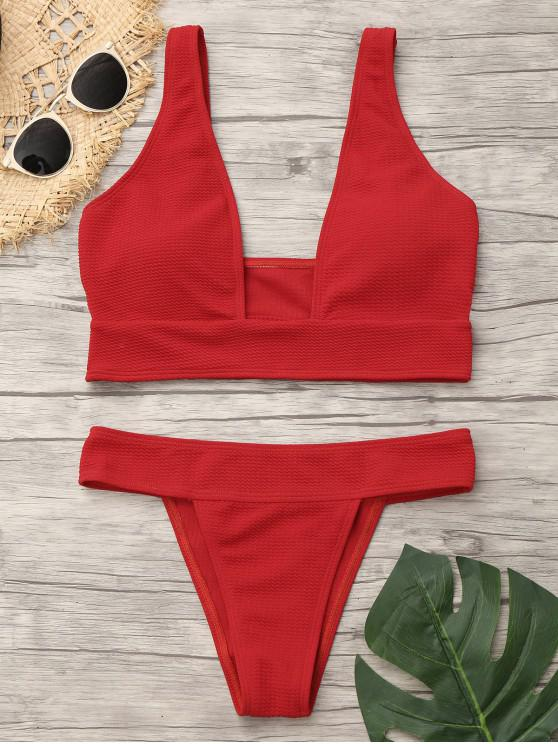 outfits Plunge Neck Low Waist Bikini - RED M