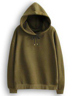 Side Slit String Hoodie - Army Green L