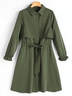 Long Sleeve Belted Button Up Shirt Dress - Army Green L