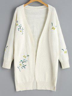 Open Floral Embroidered Cardigan - Off-white