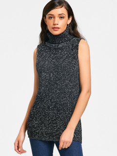 Turtleneck Heathered Sweater Vest - Black